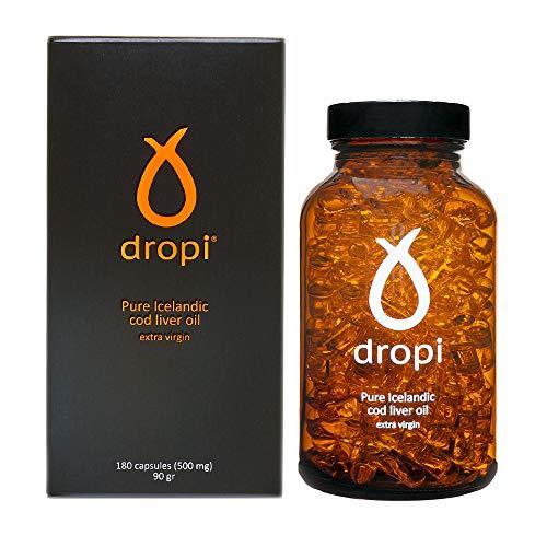 Dropi Olio di fegato di merluzzo islandese puro - 180 capsule extra vergine