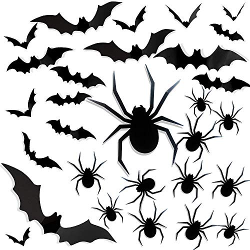 Funnlot Halloween Bats 3D Bats Stickers 3D Spider Sticker Halloween Spider Wall Sticker Halloween Bat Wall Sticker DIY House Window Wall Door for Halloween Wall Stickers (48PCS)