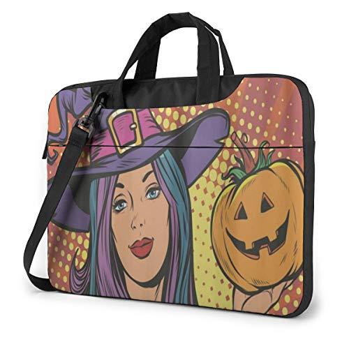 Happy Halloween Witch with Pumpkin Laptop Bag Case Sleeve Briefcase Computer Organizer for Women Men 15.6'