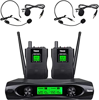 Wireless Microphone System UHF 2 Channel 2 lavavier bodypack 2 headsets Pro Audio Mic Kraoke Speech for Conference Meeting...