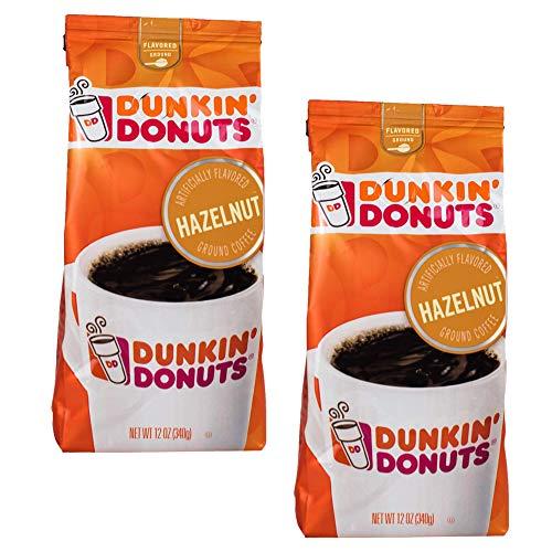 Dunkin Donuts Hazelnut gemahlener Kaffee - (Pro Beutel 2-Pack) - amerikanischer Importierte Geröstete Kaffee, 340 g (12 oz. Hazelnut Ground Coffee)