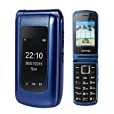 3G Flip Phone Sim Free Clamshell Mobile Phones Unlocked Loud Speaker Big Button Feature Phone for Elderly (Blue)