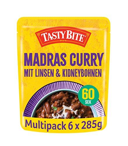 Tasty Bite Madras indisches Gemüse Curry – mit Linsen und Kidneybohnen, 6x285g