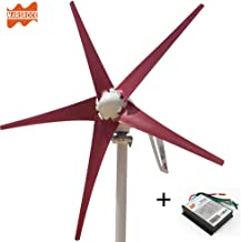 Marsrock Light and Powerful Small Three Colors 5 Blade 400W Wind Turbine Generator Kit AC 12V/24V with Windmill Generator Controller for Home Use (24V-Red)