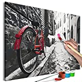 murando Pintura por Números Rojo Bicicleta Callejon Ciudad 60x40 cm Cuadros de Colorear por Números Kit para Pintar en Lienzo con Marco DIY Adultos Niños Decoracion de Pared Regalos n-A-1549-d-a