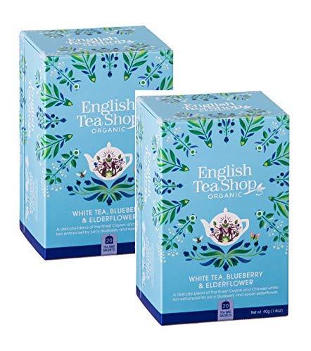 English Tea Shop Tè Bianco con Mirtillo e Fiori di Sambuco Made in Sri Lanka - 2 x 20 Bustine di Tè (80 Grammi)