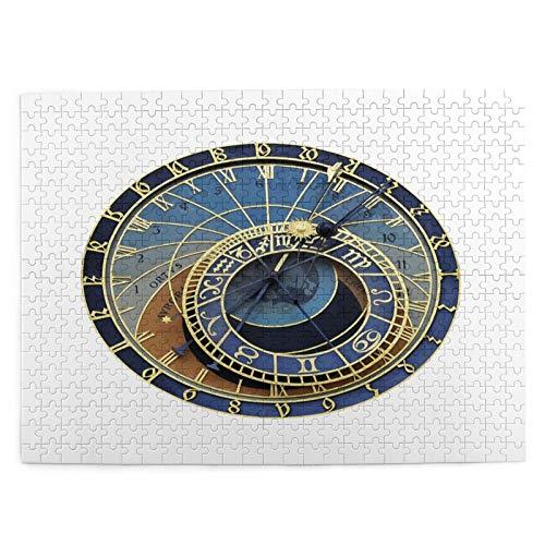 MAYUES Kinder Puzzle Spielzeug 1000 Stück Isolierte astronomische Uhr in Prag Dekompressions Bildrätsel für Erwachsene Heimdekoration