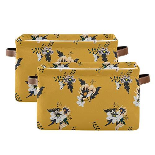 LUCKYEAH - Papelera de almacenamiento con diseño de flores y hojas de flores vintage con asas para dormitorio de niños, hogar, oficina, guardería, 2 unidades