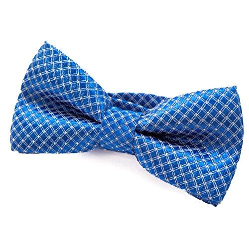 DonDon Edle Kinder Jungen Fliege gebunden und längenverstellbar 9 x 4,5 cm blau glänzend mit silbernen Punkten