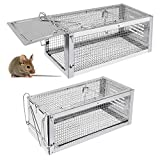 RatzFatz Mouse Traps, Small Animal Humane Live Cage, Traps for Mice, Rats, Chipmunks, Squirrels, Hamsters and Other Rodents, Hook Design (Pack of 2)