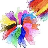 Pañuelos de Baile 14 pcs Pañuelos de Malabares Multicolor Cuadrado Porra Vara para Niños Bailarinas de Danza Pañuelos de Malabares Cuadrado Pañuelos Mágicos de Seda para Niños Chicas Fiesta decoración
