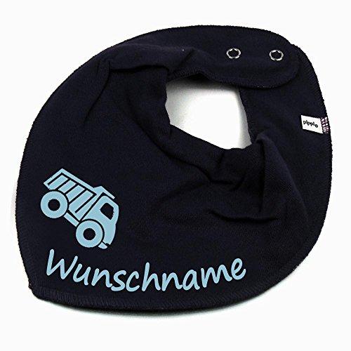 HALSTUCH Lastwagen mit Namen oder Text personalisiert dunkelblau für Baby oder Kind