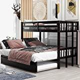 Twin Over Twin/ Full/ King Bunk Bed with Trundle, Convertible Down Bed, Pull-Out Multi-Functional Bunk Bed for 4 People , Wooden Bunk Bed with Ladder and Safety Rail , Espresso