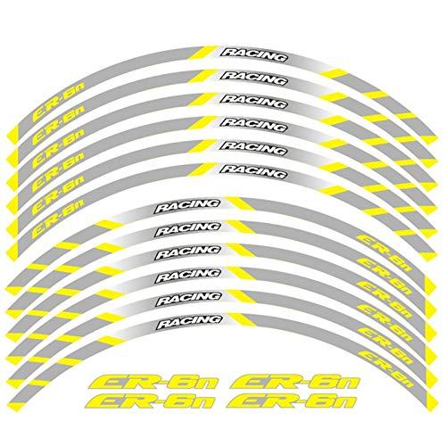 Motocicleta Frente y Ruedas traseras Edificio Etiqueta de Rim Exterior PEQUEÑA Raza REFLECTUAL DE Las Veces para Kawasaki ER-6N (Color : B Yellow)