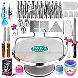 250PCs Cake Decorating Kit with Aluminum Metal Turntable-Rotating...