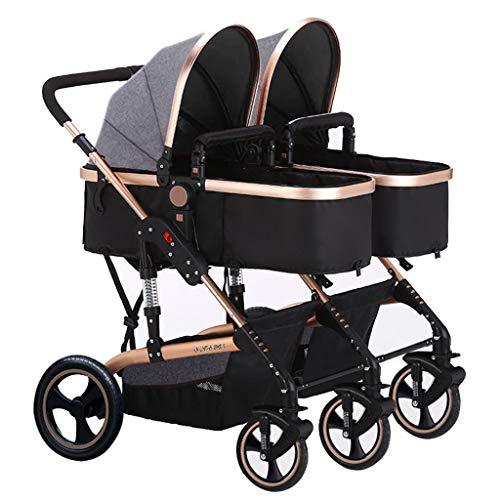 JIAX Cochecito Muñecas Gemelos para Bebés Y Niños Pequeños, Fácil De Plegar, Niños Pequeños, Bebé, Doble Conexión Paralela, Sistema De Viaje Convertible para Recién Nacidos Y Niños Pequeños