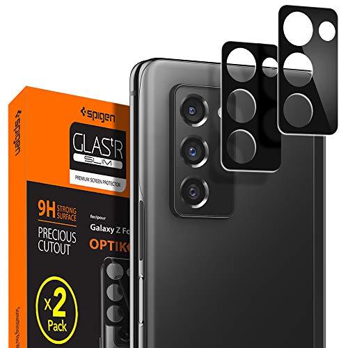 Spigen, 2 Pièces, Caméra Arrière Protecteur pour Samsung Galaxy Z Fold 2, Glas.TR Optik, Noir, Résistant aux Rayures, Couverture complète, Protection caméra arrière pour Galaxy Z Fold 2