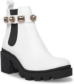Steve Madden Amulet Block Heel Fashion Chelsea Boot White