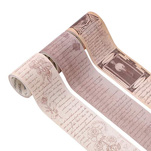 Washi Tape Set, 3 Rollen Washi Masking Tapes Set Scrapbook Printing Dekoratives Masking Tape Japanisches Masking Tape Dekoratives beschreibbares Vintage Tape Dekoratives Klebeband zur Dekoration