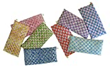 Peacegoods Scented Eye Pillows - Pack of (8) - Soft Cotton 4 x 8.5 - Organic Lavender Flax Seed - Hand Block Print - Leaf Paisley Green Pink Yellow Orange Blue Purple