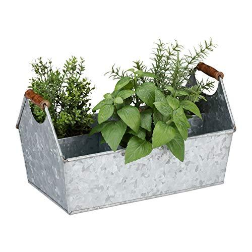 Relaxdays Zinkkasten 6 vakken, gereedschaps- en bloembak, flessendrager met houten grepen, balkon, verzinkt, zilver