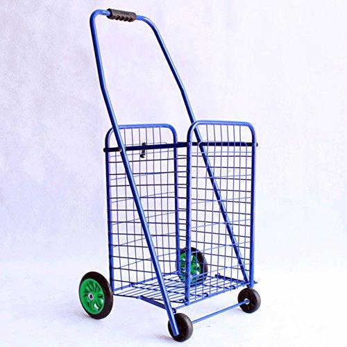 QINAIDI Deluxe Rolling Shopping Cart Mit Korb - Verstaubare Duty Cart Mit Gummirädern Für Haul, Lebensmittel, Spielzeug, Sportgeräte Trolley (Groß),Blue
