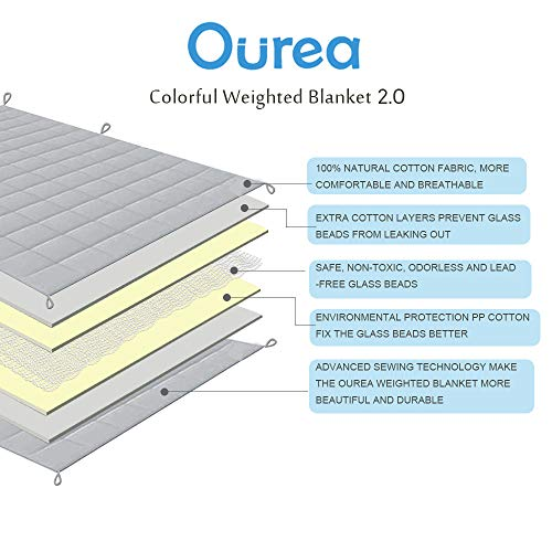 Ourea Adult Weighted Blankets (20 lbs, 60 x 80, Queen Size) Heavy Blanket, Cooling Cotton with Glass Beads