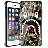 Doulounan iPhone 6s Case, Fashion iPhone 6 Case for Boys Men Camo Slim Fit Luxury Tempered Glass Back Cover with Soft Silicone TPU Shockproof Bumper Case for iPhone 6/6s (Army Green Shark)