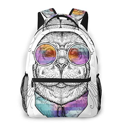 DJNGN Mochila para ordenador portátil, 15,6 pulgadas, elegante, mochila escolar divertida en gafas, resistente al agua, mochila informal