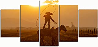 PENGTU Paintings Modern Canvas Painting Wall Art Pictures 5 Pieces, Young Mexican Charro Rounds Herd Horses,Wall Decor HD Printed Posters Frame