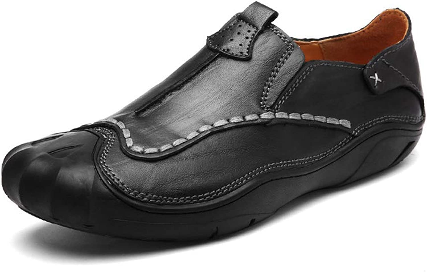JITIAN Mens Causal Leather Flats Driving Loafers Comfortable Outdoor Moccasins Spring Summer Anti-Slip Oxfords shoes for Work Office