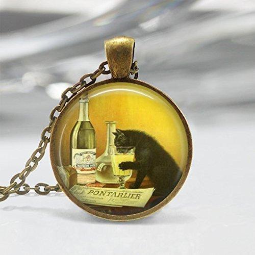 Collier Chat Noir Vintage Alcool Ad Absinthe Kitty Art Pendentif en bronze ou argent avec chaîne à maillons incluse