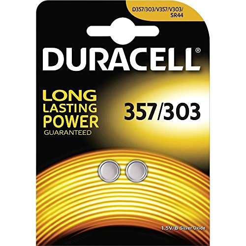 Duracell 357/303-C2 Knopfzelle Silberoxid-Batterien Carded 2
