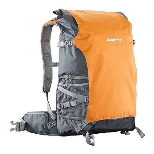 Mantona ElementsPro 50 Outdoor und Kamerarucksack (geeignet für 1 bis 2 Kameras, 4 bis 5 Objektive, Netzteil und Zubehör, Laptop-Fach bis 15 Zoll, aus praktischem Nylon mit Regenschutz) grau/orange