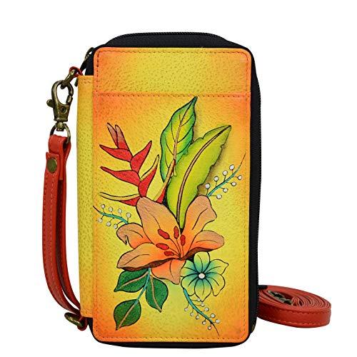 Anna by Anuschka Damen Smart Phone Case & Wallet-Leather echtes Leder, Tropischer Blumenstrauß gelb, Einheitsgröße
