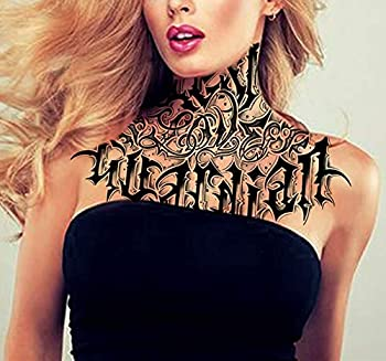 DaLin Temporary Tattoos 2 Sheets Deep Black Large Neck Tattoos for Halloween Costume Accessories and Parties