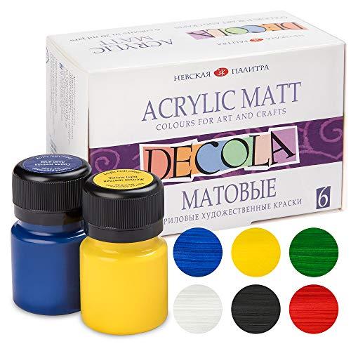 Nevskaya Palitra Acrylfarben Set Matt | 6 x 20 ml Malfarben | Acryl Farben zum Malen und Dekorieren | Qualität von Decola