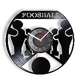 Reloj de Pared de futbolín Hecho de Vinilo Grabado con láser, Juego de Deportes de Ocio y Entretenimiento, Reloj de Pared Luminoso LED, decoración de Pared artística, 12 Pulgadas