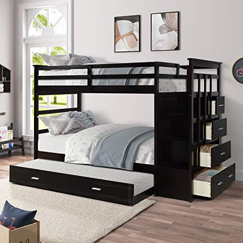 Merax Solid Wood Twin-Over-Twin Bunk Bed, Trundle Bunk Bed with 4 Storage Drawers (Espresso)