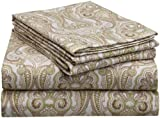 Pointehaven Heavy Weight Printed Flannel Sheet Set, Queen, Paisley Sage