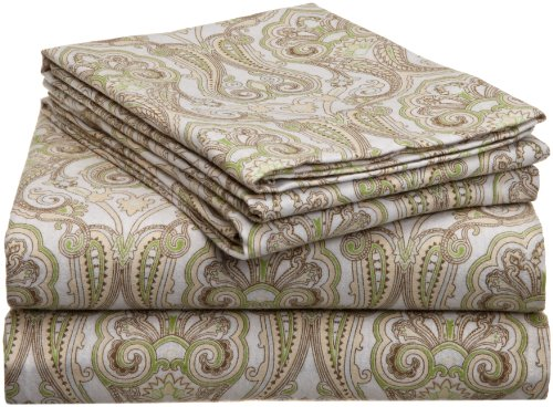 Pointehaven Heavy Weight Printed Flannel Sheet Set, Queen, Paisley...