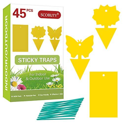 SCOBUTY Trampas para Insectos, Trampa Moscas, Atrapamoscas de Doble Cara para Proteger Plantas Hay Muchas Formas, para Interior y Exterior-45pcs
