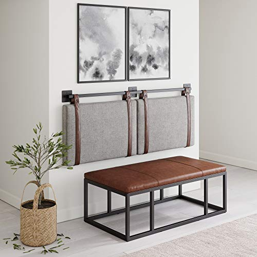 Nathan James Harlow Wall Mount Faux Leather or Fabric Upholstered Headboard, Adjustable Height Vintage Brown Straps with Black Matte Metal Rail, Full Queen, Gray