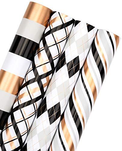 RUSPEPA Geschenkpapierrolle - Geometrisches Design In Schwarz Und Gold, Perfekt Für Urlaub, Party, Babyparty Geschenkverpackung - 4 Rollen - 76 cm X 305 cm Pro Rolle