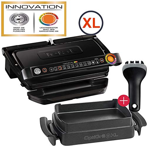 Tefal OptiGrill+ Plus XL-Grillfläche intelligenter Kontaktgrill, 9 Grillprogramme, Ideale Grillergebnisse blutig bis durchgebraten, antihaftversiegelte Aluguss-Platten, Gusseisen