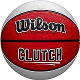Wilson, Pallone da basket, Clutch, Misura 7, Rosso/Bianco, Gomma, Uso all'interno e all'esterno, WTB14195XB07