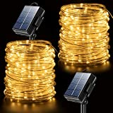 Solar Rope Lights Outdoor String Lights , 2 Pack 65.6ft 20M 200 LED Waterproof Solar Rope Tube for Garden, Fence, Yard, Party, Wedding,Christmas Tree Décor
