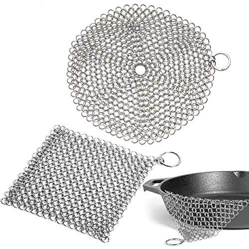 Detergente per ghisa in acciaio inossidabile Scrubber in ghisa Spugne per pulizia in ghisa Scrubber di Maglia per padelle forni olandesi padelle per griglia wok 10 * 10 cm / 12,5 * 12,5 cm 2 Pezzi