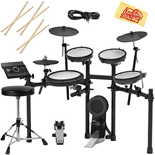 Roland TD-17KV-S Electronic Drum Set Bundle with Drum Throne, 3 Pairs of Sticks, Audio Cable, and...