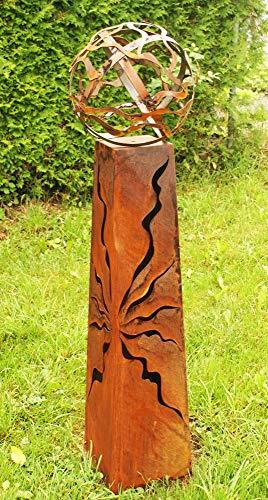 Gartendeko Fackelsäule Rost Fackel Säule 100 cm mit Feuerkugel